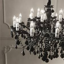 ideal lux florian chrome and black glass six light chandelier with crystals idl139364