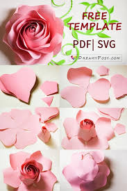 Paper Flower Template Pdf Free Template And Full Tutorial To Make Giant Rose For Backdrop