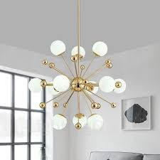 12 light modern contemporary ceiling lights copper plating chandelier with white ball glass shade for