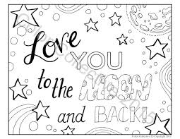 Small Picture Adult Coloring Page Digital Download Love You To The Moon And