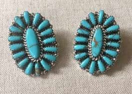 big turquoise cer earrings vintage southwest native american zuni petit point needlepoint sterling silver artist signed