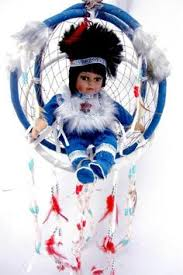 Dream Catcher Dolls DREAM CATCHER 40 DIAMETER 40D WITH PORCELAIN INDIAN NATIVE AMERICAN 2