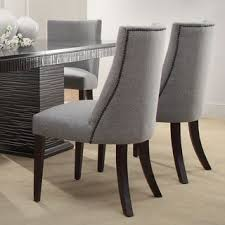 tribecca home dominic grey curved nailhead upholstered dining chair with regard to gray chairs designs 5