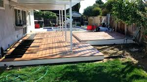 how to build a timber deck on a concrete slab building deck over slab wood concrete