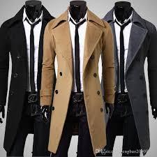 winter mens trench coat windbreaker woolen long outwear black dark gray camel slim double ted coats luxurious plus size by gengbao20909222