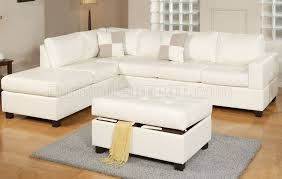 cream bonded leather reversible modern sectional sofa w ottoman