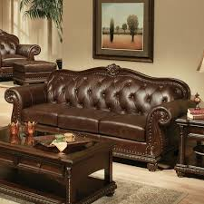 Top Grain Leather Living Room Set Acme Furniture Anondale Sofa In Cherry Top Grain Leather Local