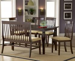 Furniture Sturdy Dining Table With Bench Dark Brown Finish Kitchen
