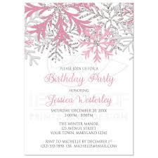 Snowflake Birthday Invitations Birthday Invitations Winter Snowflake Pink Silver
