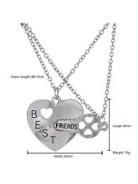 best friend friendship necklace heart key set silver pendant couple necklace com