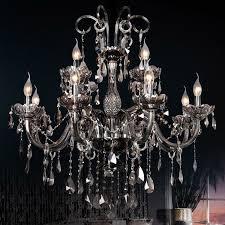 gracy smokey gray 2 tier 12 light crystal chandelier pendant light in chrome