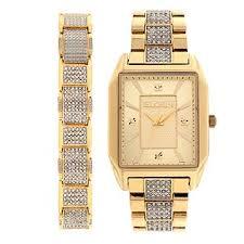 elgin men s gold tone watch bracelet set jewelry watches elgin men s gold tone watch bracelet set