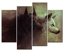 home office artwork. 4 Panels Wall Decorations For Living Room Home Office Artwork With Regard To Latest Wolf 3D N