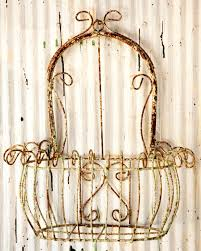 23 wrought iron bow top basket for wall to enlarge