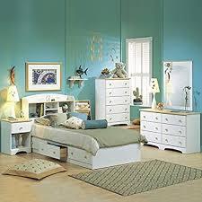 Amazon.com: South Shore Newbury Kids White Twin Wood Captain's Bed 4 ...