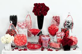 red black and white candy buffet