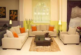 glamorous sofa in living room interior design with plain colors and cushions colors