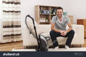Man Living Room Portrait Smiling Man Vacuum Cleaner Living Stock Photo 169932152