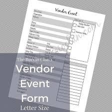 Vendor Event Form Custom Vendor Form Small By Gracefulprintables