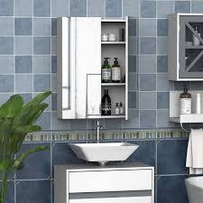 homcom wall mount mirror cabinet wood