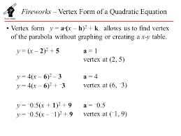 fireworks vertex form of a quadratic equation ppt