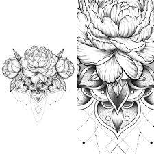 сделать татуировку пионы на грудь в городе москва по эскизу мастера
