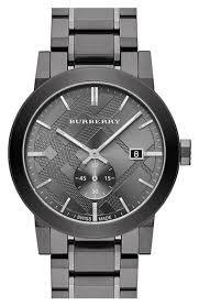 upc 822138044301 burberry check stamped stainless steel watch upc 822138044301 product image for burberry check stamped bracelet watch 42mm gunmetal one size