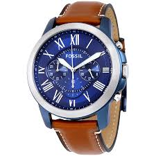 fossil grant blue dial chronograph leather mens watch fs5151 zoom