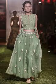Designer Crop Top Skirt Anita Dongre Sage Green Embroidered Crop Top And Skirt Set