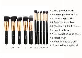tenmon 10pcs makeup brush set professional foundation eyeshadow blending cosmetics brushes kit black