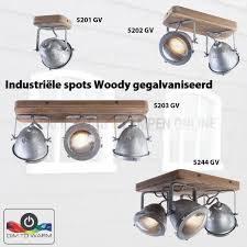Industriële Spot 2 Lichts Hout Met Zink Look
