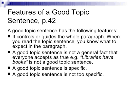 unit topic sentence 7 features of a good topic