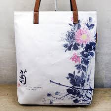 watercolor chrysanthemum fl painting printed canvas tote bags