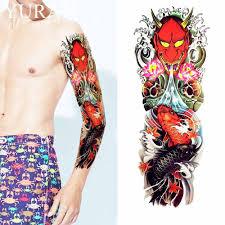 сексуальный красный дракон карп временные татуировки наклейки волны мужчины