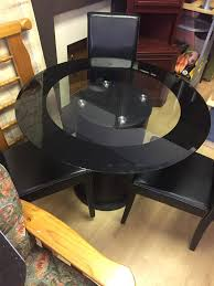 round black glass dining table three chairs