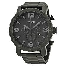 fossil watches jomashop fossil nate chronograph black dial black ion plated men s watch
