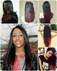 black and red dip dye color ombre hairstyle with human hair extensions