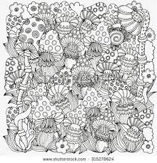 Small Picture Pattern for coloring book in vector Fantasy fairy mushrooms in