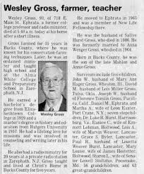 Obituary for Wesley Gross (Aged 93) - Newspapers.com