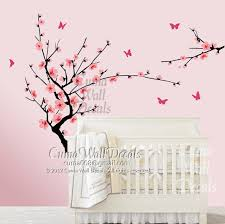 pink cherry blossom wall decals flower butterfly wall decals nursery wall on floral wall art nursery with pink cherry blossom wall decals flower by cuma wall decals on zibbet