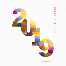 Happy New Year 2019 Backgroundcolorful Greeting Card Designvector ...