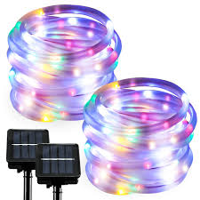 Rgb Rope Light 2 Pack Rgb Solar Rope Lights Outdoor Led String Lights Waterproof Fairy Christmas Lights For Garden Patio Party Decoration Dusk To Dawn 23ft2