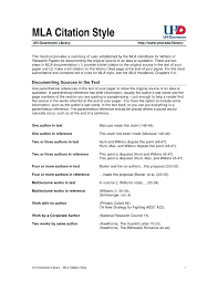 Mla Citation Style An Overview Mla Handbook 7 Th Ed Pdf Mla Format