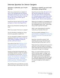 Interview Question What Do You Do For Fun Interview Questions For Interior Designers Pages 1 3