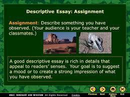 writing workshop descriptive writing descriptive essay ppt  2 assignment