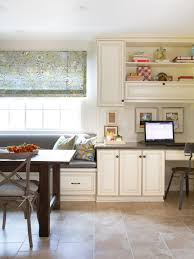 home office in kitchen. Cottage Kitchen With Cozy Home Office In