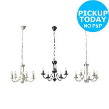 argos home twirl 5 light twist chandelier black chrome ivory