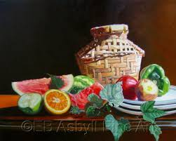 basket with fruit and vegetables by e b asbyll fine art