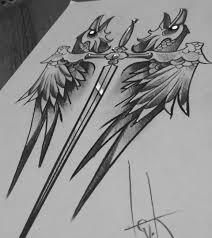 ворон стилет кинжал нож тату эскиз Sketch Art Crow Bird Tattoo