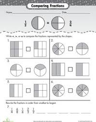 Comparing fractions, Fractions worksheets and Fractions on PinterestWorksheets: Comparing Fractions